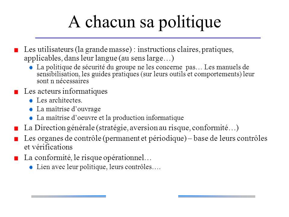 A chacun sa politique Les utilisateurs (la grande masse) : instructions claires, pratiques, applicables, dans leur langue (au sens large…) La politiqu