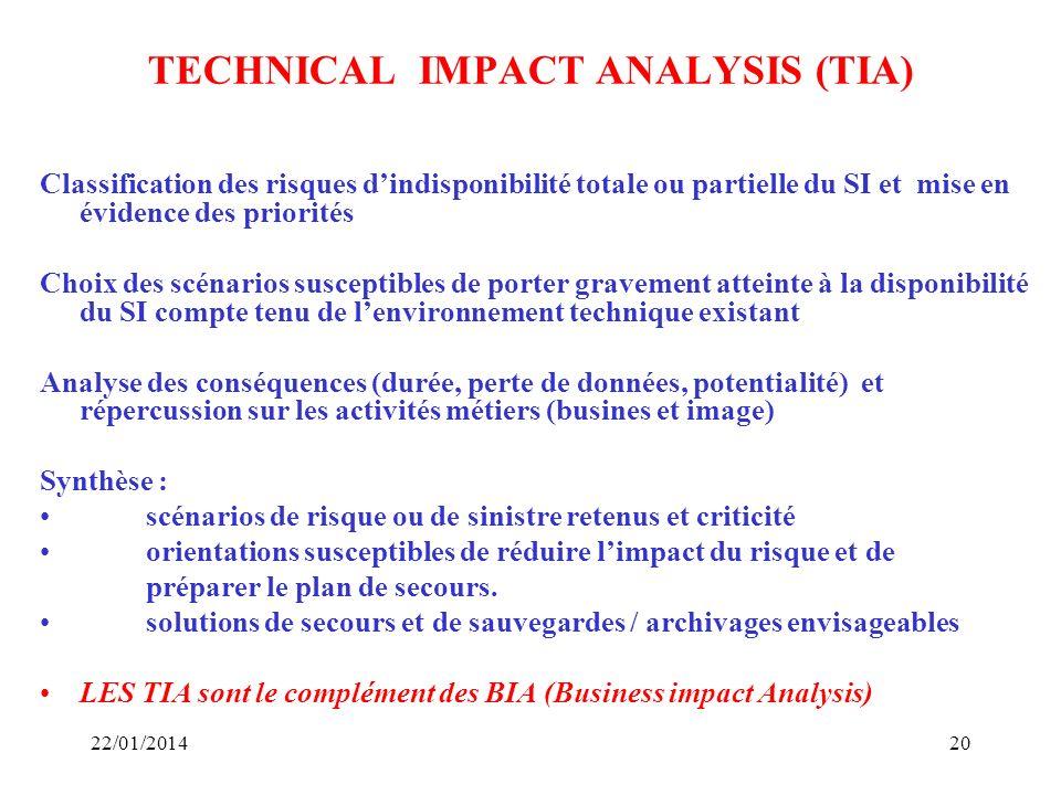 TECHNICAL IMPACT ANALYSIS (TIA) Classification des risques dindisponibilité totale ou partielle du SI et mise en évidence des priorités Choix des scén