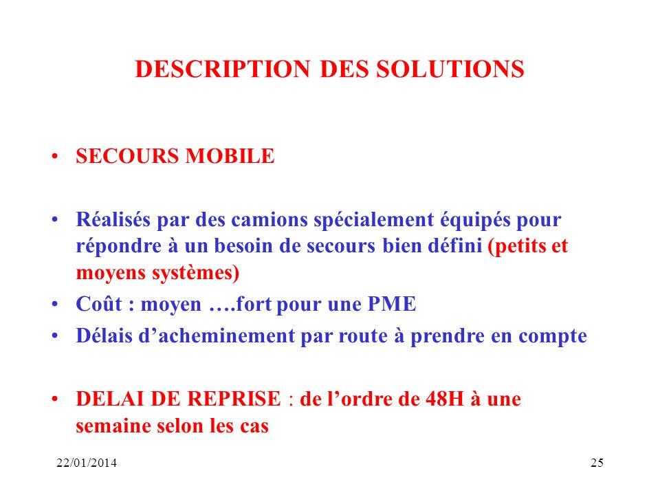 22/01/201425 DESCRIPTION DES SOLUTIONS SECOURS MOBILE Réalisés par des camions spécialement équipés pour répondre à un besoin de secours bien défini (