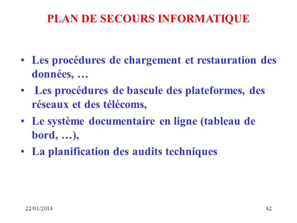 22/01/201442 PLAN DE SECOURS INFORMATIQUE Les procédures de chargement et restauration des données, … Les procédures de bascule des plateformes, des r
