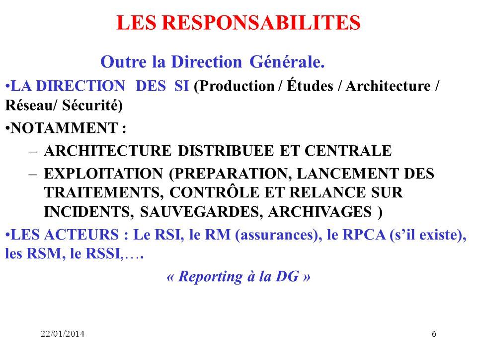 6 LES RESPONSABILITES Outre la Direction Générale. LA DIRECTION DES SI (Production / Études / Architecture / Réseau/ Sécurité) NOTAMMENT : –ARCHITECTU