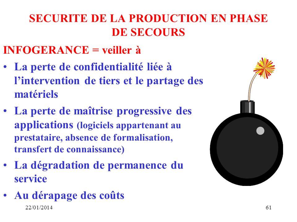 SECURITE DE LA PRODUCTION EN PHASE DE SECOURS INFOGERANCE = veiller à La perte de confidentialité liée à lintervention de tiers et le partage des maté