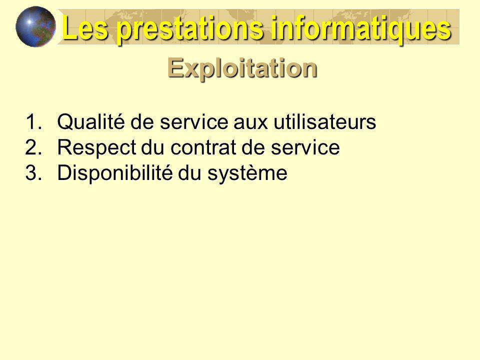 Exploitation 1.Qualité de service aux utilisateurs 2.Respect du contrat de service 3.Disponibilité du système Les prestations informatiques