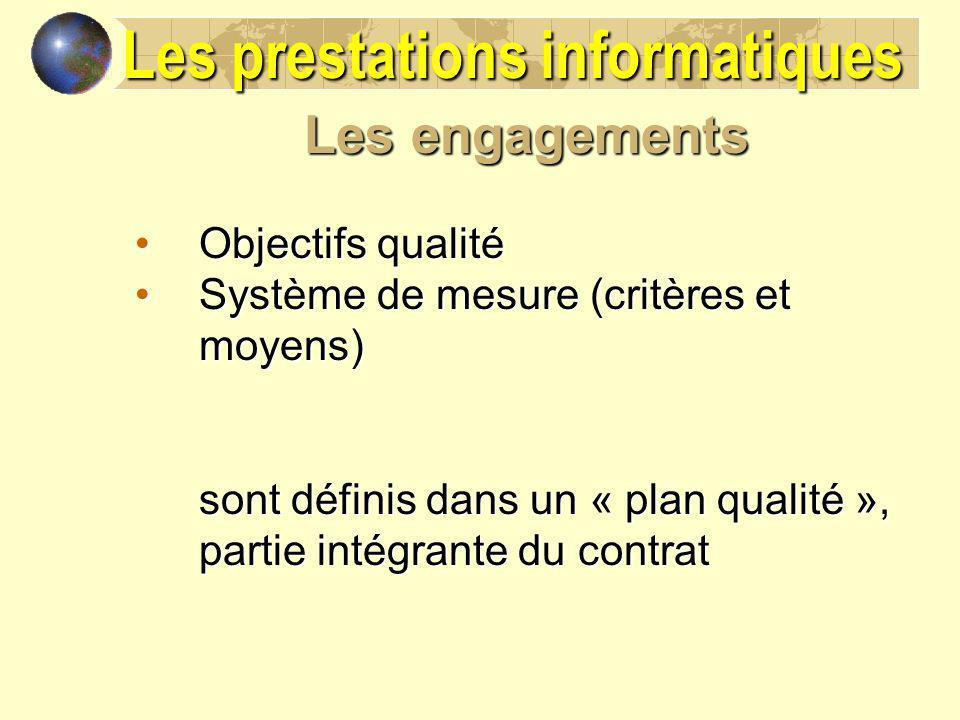 Les engagements Objectifs qualitéObjectifs qualité Système de mesure (critères et moyens)Système de mesure (critères et moyens) sont définis dans un «