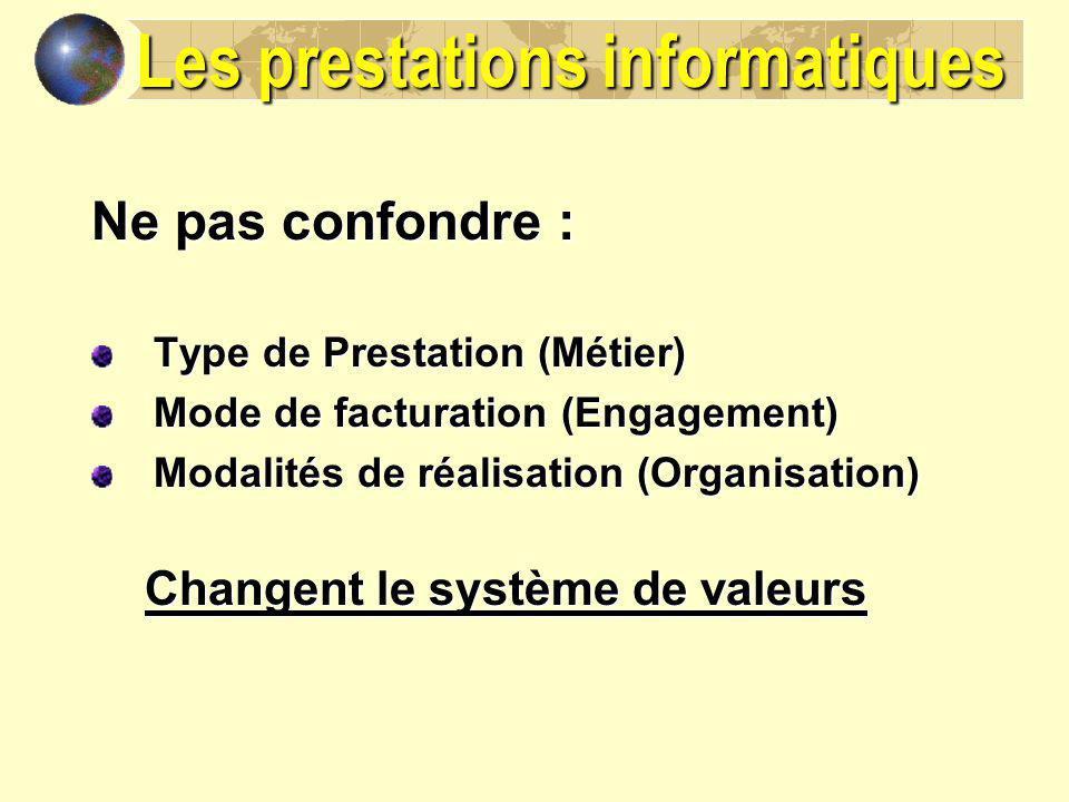 Les prestations informatiques Ne pas confondre : Type de Prestation (Métier) Mode de facturation (Engagement) Modalités de réalisation (Organisation)