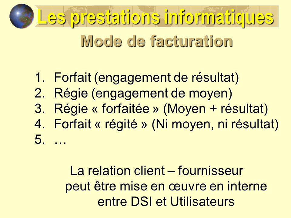 Mode de facturation 1.Forfait (engagement de résultat) 2.Régie (engagement de moyen) 3.Régie « forfaitée » (Moyen + résultat) 4.Forfait « régité » (Ni