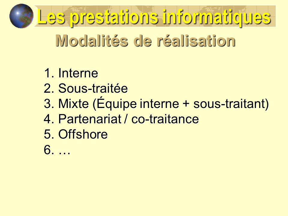 Modalités de réalisation 1.Interne 2.Sous-traitée 3.Mixte (Équipe interne + sous-traitant) 4.Partenariat / co-traitance 5.Offshore 6.… Les prestations
