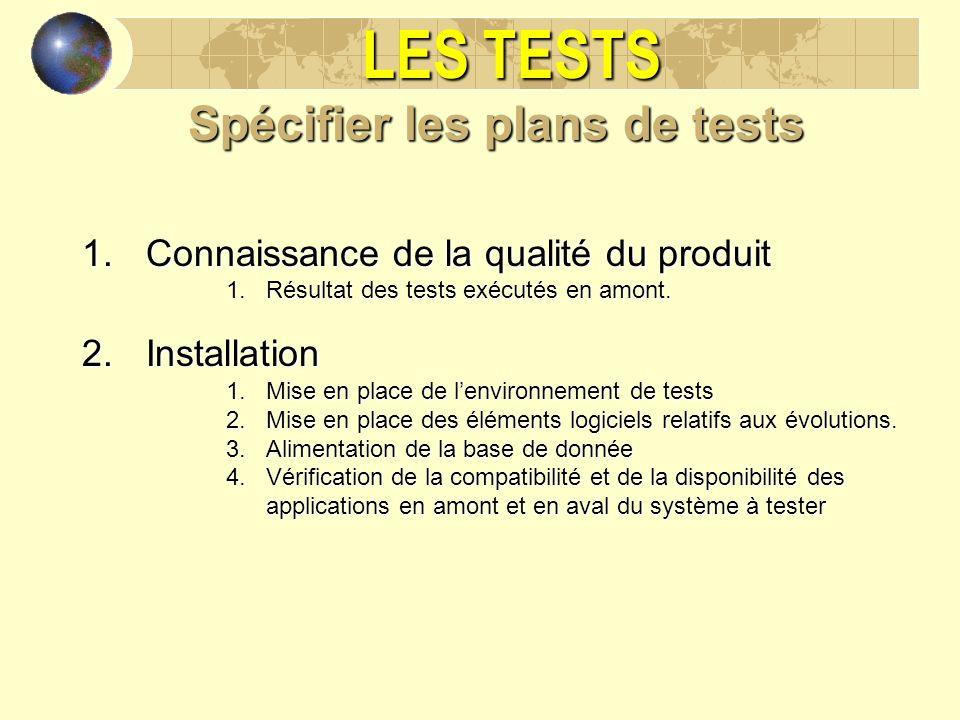 LES TESTS Spécifier les plans de tests 1.Connaissance de la qualité du produit 1.Résultat des tests exécutés en amont. 2.Installation 1.Mise en place
