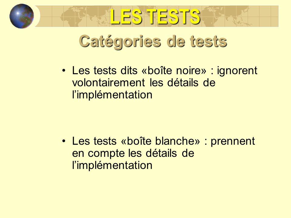 LES TESTS Catégories de tests Les tests dits «boîte noire» : ignorent volontairement les détails de limplémentation Les tests «boîte blanche» : prenne