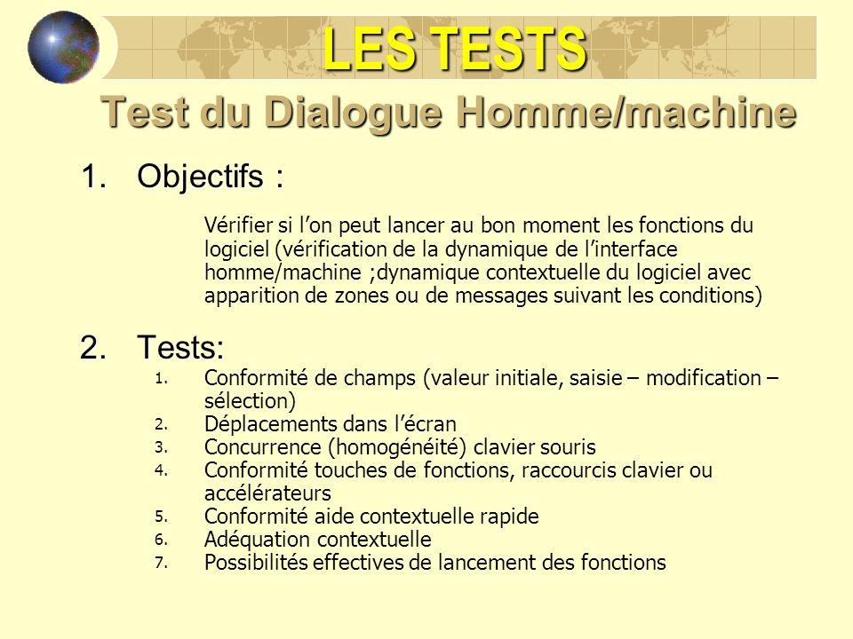 LES TESTS Test du Dialogue Homme/machine 1.Objectifs : Vérifier si lon peut lancer au bon moment les fonctions du logiciel (vérification de la dynamiq