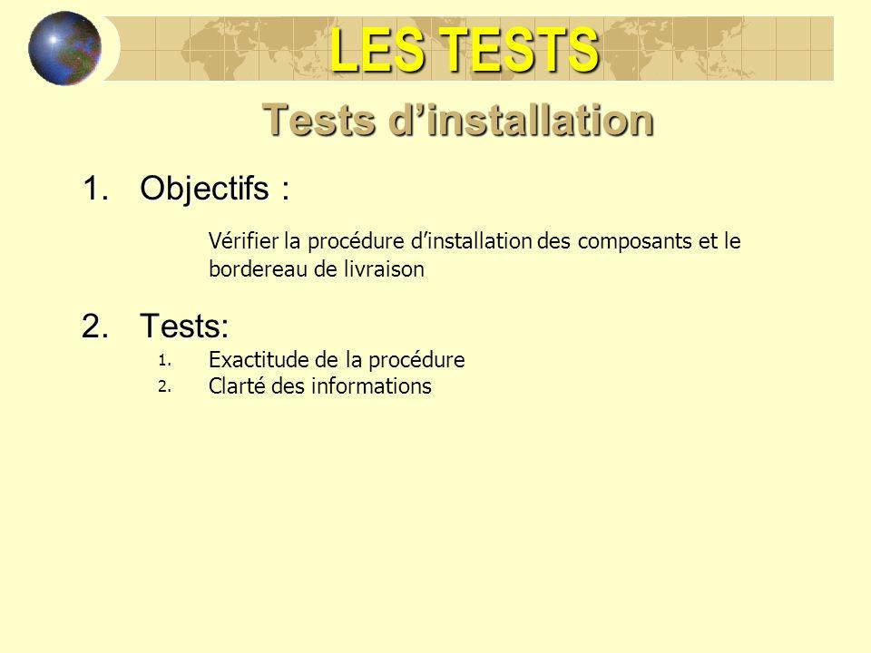 LES TESTS Tests dinstallation 1.Objectifs : Vérifier la procédure dinstallation des composants et le bordereau de livraison 2.Tests: 1. Exactitude de