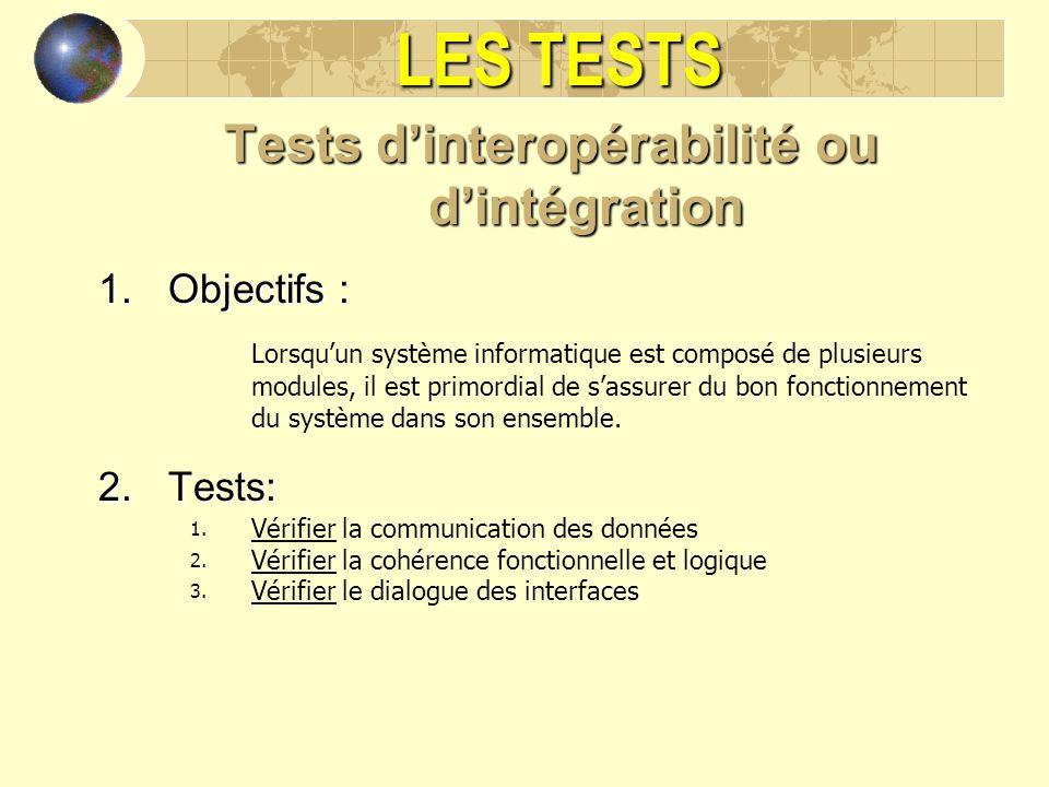 LES TESTS Tests dinteropérabilité ou dintégration 1.Objectifs : Lorsquun système informatique est composé de plusieurs modules, il est primordial de s