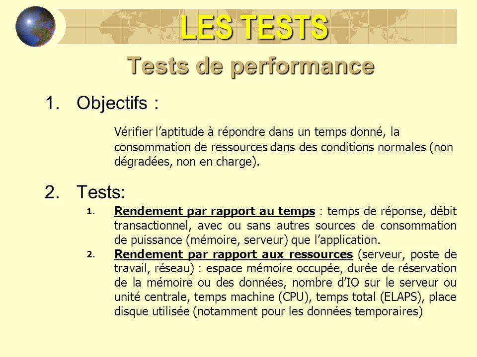 LES TESTS Tests de performance 1.Objectifs : Vérifier laptitude à répondre dans un temps donné, la consommation de ressources dans des conditions norm