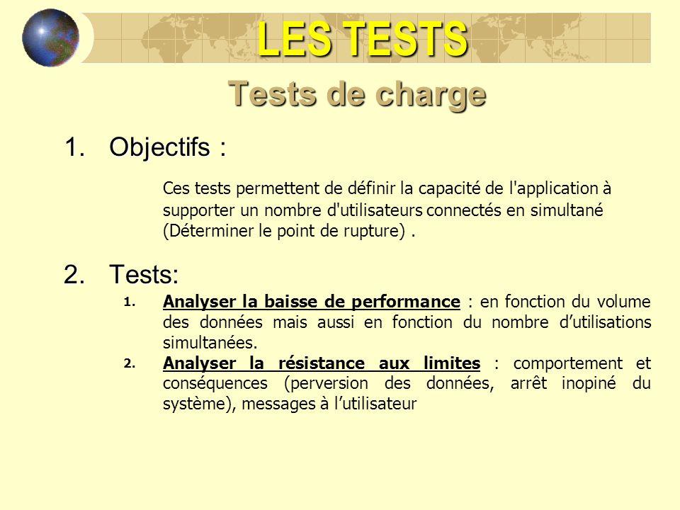 LES TESTS Tests de charge 1.Objectifs : Ces tests permettent de définir la capacité de l'application à supporter un nombre d'utilisateurs connectés en