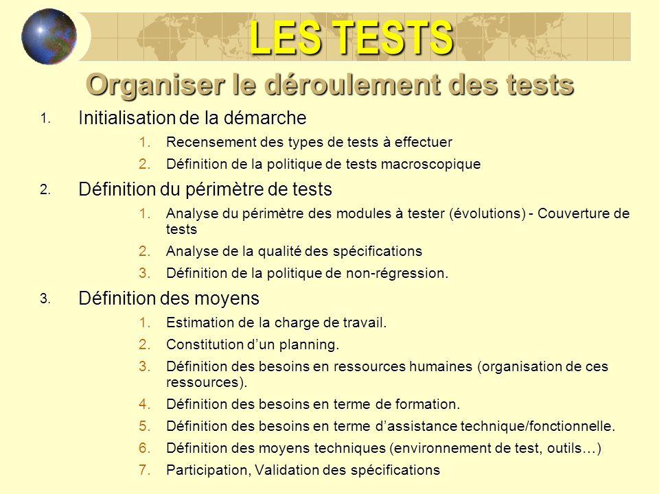 LES TESTS Organiser le déroulement des tests 1. Initialisation de la démarche 1.Recensement des types de tests à effectuer 2.Définition de la politiqu