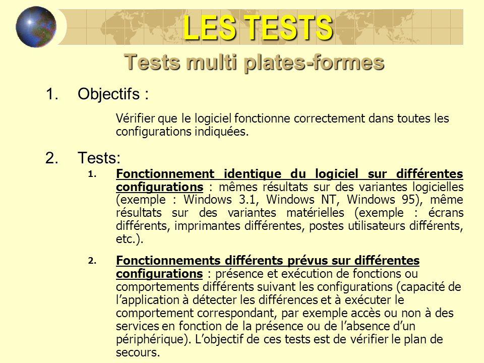 LES TESTS Tests multi plates-formes 1.Objectifs : Vérifier que le logiciel fonctionne correctement dans toutes les configurations indiquées. 2.Tests: