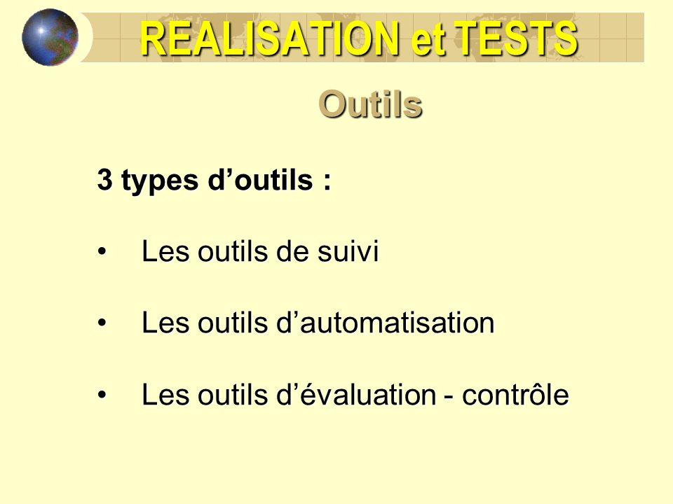REALISATION et TESTS Outils 3 types doutils : Les outils de suiviLes outils de suivi Les outils dautomatisationLes outils dautomatisation Les outils d