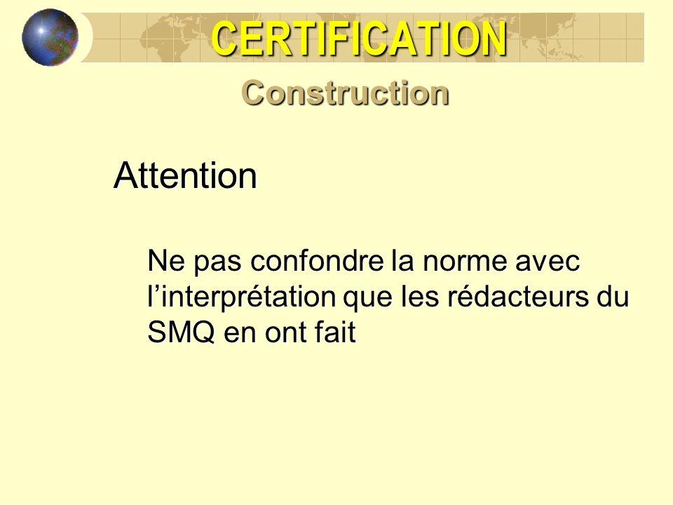 CERTIFICATIONConstructionAttention Ne pas confondre la norme avec linterprétation que les rédacteurs du SMQ en ont fait