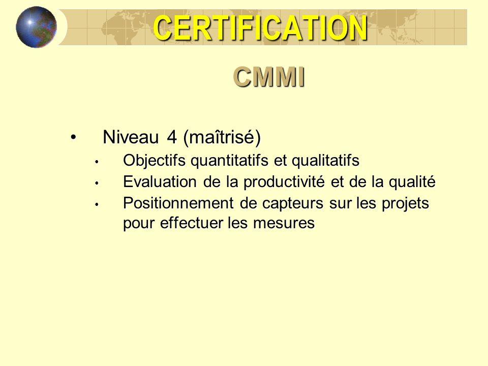 CERTIFICATIONCMMI Niveau 4 (maîtrisé)Niveau 4 (maîtrisé) Objectifs quantitatifs et qualitatifs Objectifs quantitatifs et qualitatifs Evaluation de la