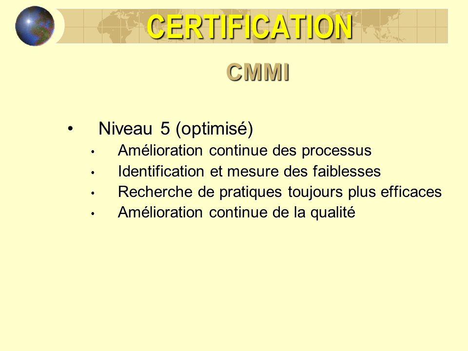 CERTIFICATIONCMMI Niveau 5 (optimisé)Niveau 5 (optimisé) Amélioration continue des processus Amélioration continue des processus Identification et mes