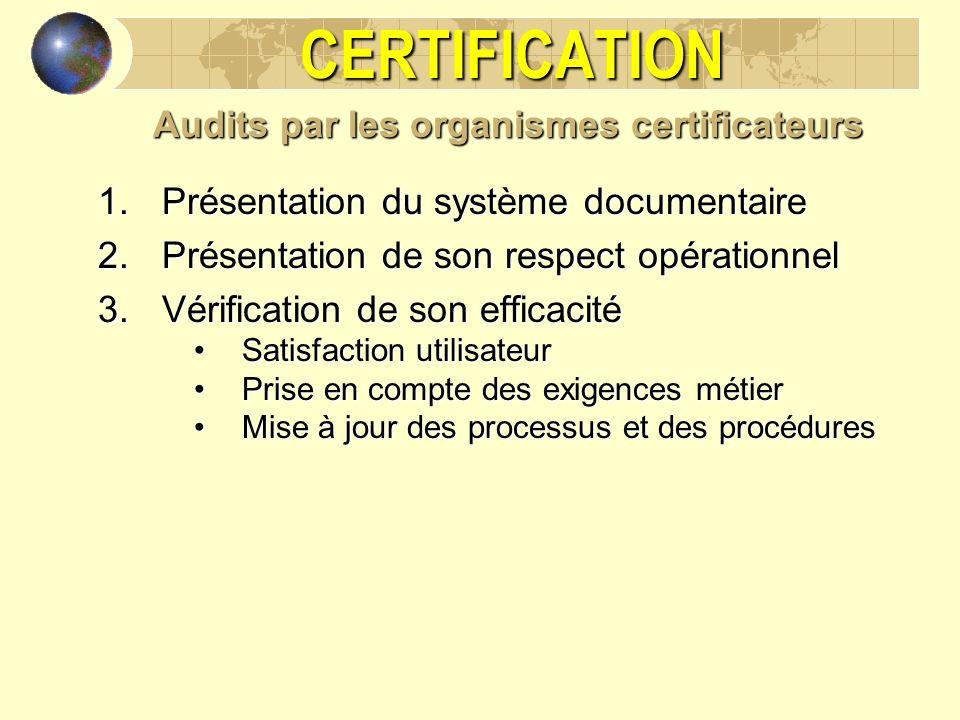 CERTIFICATION Audits par les organismes certificateurs 1.Présentation du système documentaire 2.Présentation de son respect opérationnel 3.Vérificatio