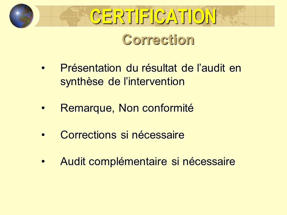 CERTIFICATIONCorrection Présentation du résultat de laudit en synthèse de linterventionPrésentation du résultat de laudit en synthèse de lintervention