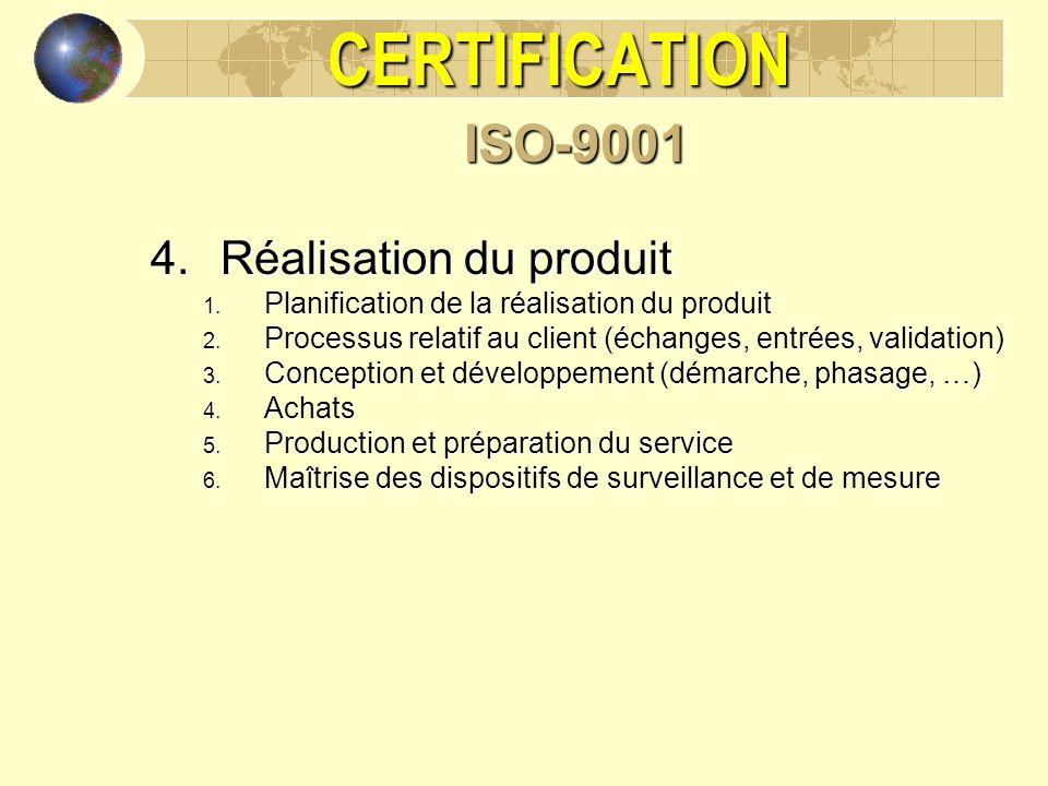 CERTIFICATIONISO-9001 4.Réalisation du produit 1. Planification de la réalisation du produit 2. Processus relatif au client (échanges, entrées, valida