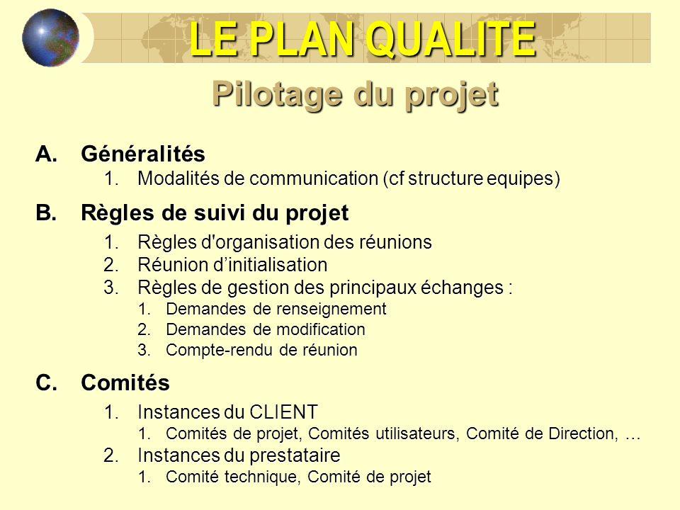 LE PLAN QUALITE Pilotage du projet A.Généralités 1.Modalités de communication (cf structure equipes) B.Règles de suivi du projet 1.Règles d'organisati