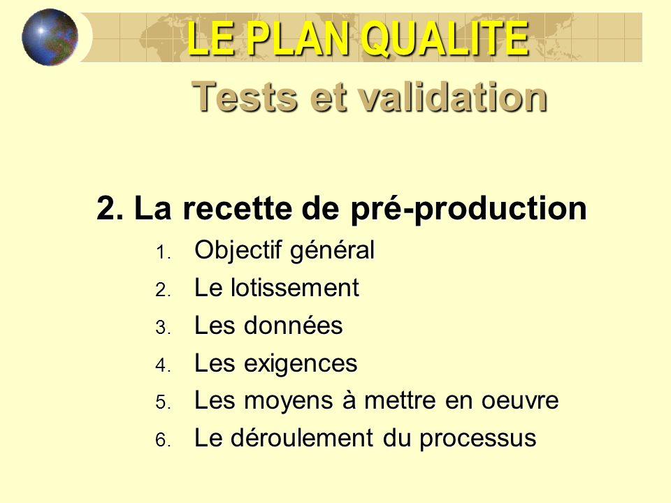 LE PLAN QUALITE Tests et validation 2. La recette de pré-production 1. Objectif général 2. Le lotissement 3. Les données 4. Les exigences 5. Les moyen