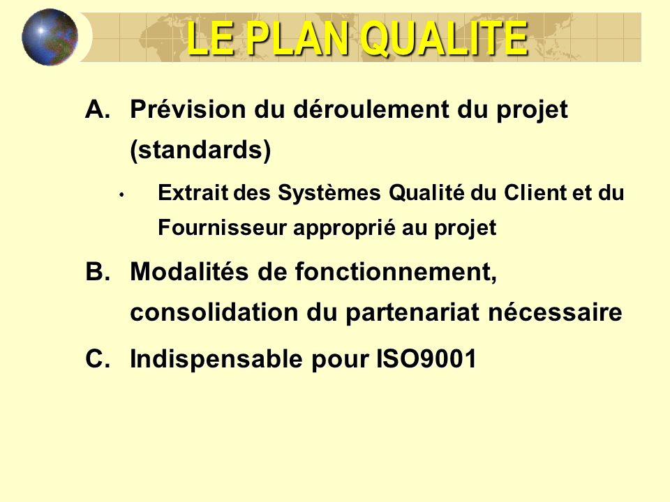 LE PLAN QUALITE A.Prévision du déroulement du projet (standards) Extrait des Systèmes Qualité du Client et du Fournisseur approprié au projet Extrait