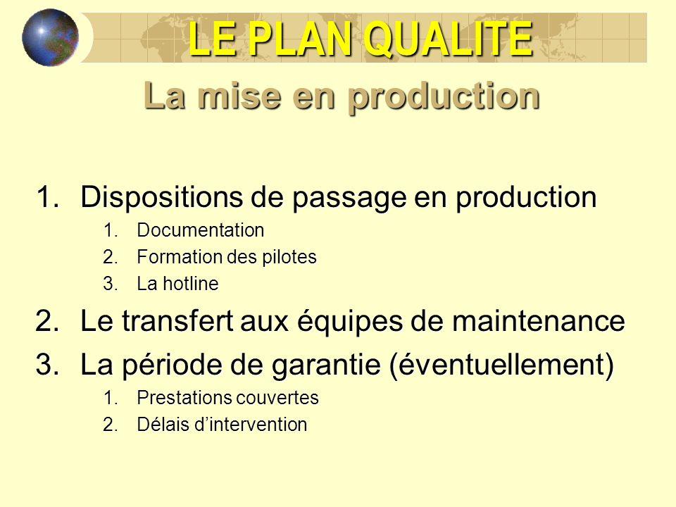 LE PLAN QUALITE La mise en production 1.Dispositions de passage en production 1.Documentation 2.Formation des pilotes 3.La hotline 2.Le transfert aux