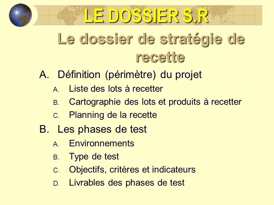 LE DOSSIER S.R Le dossier de stratégie de recette A.Définition (périmètre) du projet A. Liste des lots à recetter B. Cartographie des lots et produits