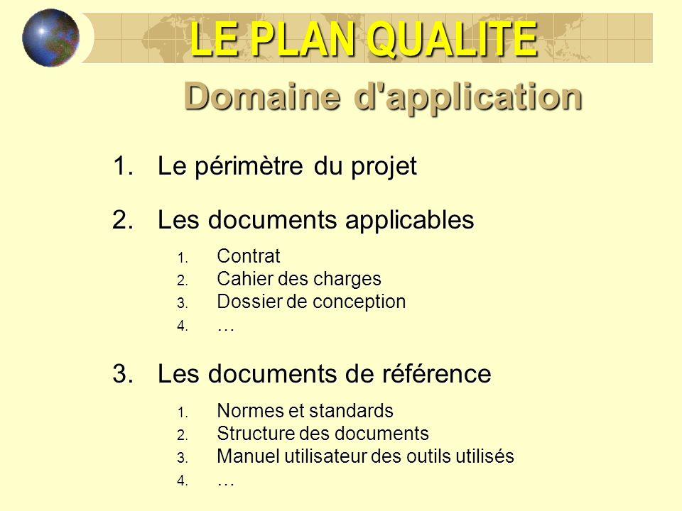 LE PLAN QUALITE Domaine d'application 1.Le périmètre du projet 2.Les documents applicables 1. Contrat 2. Cahier des charges 3. Dossier de conception 4