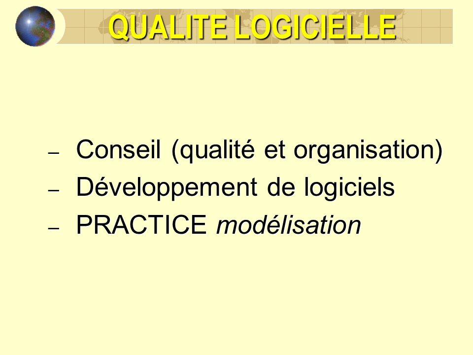 QUALITE LOGICIELLE – Conseil (qualité et organisation) – Développement de logiciels – PRACTICE modélisation