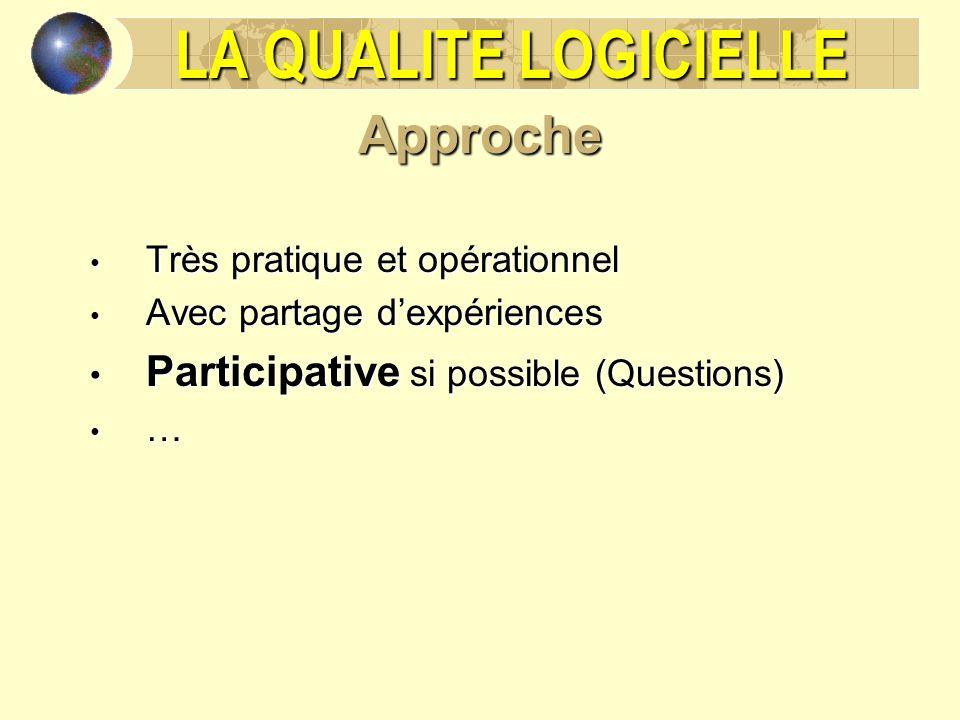 LA QUALITE LOGICIELLE Approche Très pratique et opérationnel Très pratique et opérationnel Avec partage dexpériences Avec partage dexpériences Partici