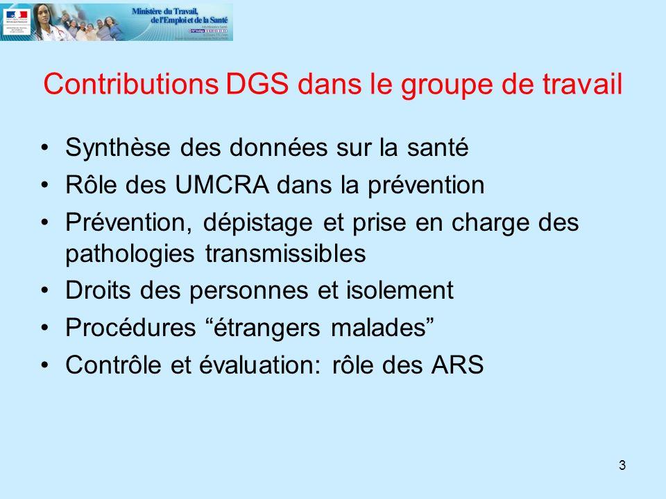 3 Contributions DGS dans le groupe de travail Synthèse des données sur la santé Rôle des UMCRA dans la prévention Prévention, dépistage et prise en ch