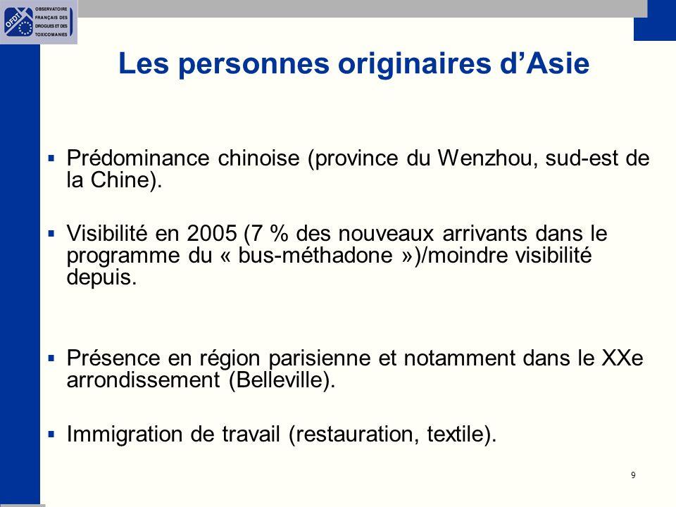 9 Les personnes originaires dAsie Prédominance chinoise (province du Wenzhou, sud-est de la Chine).