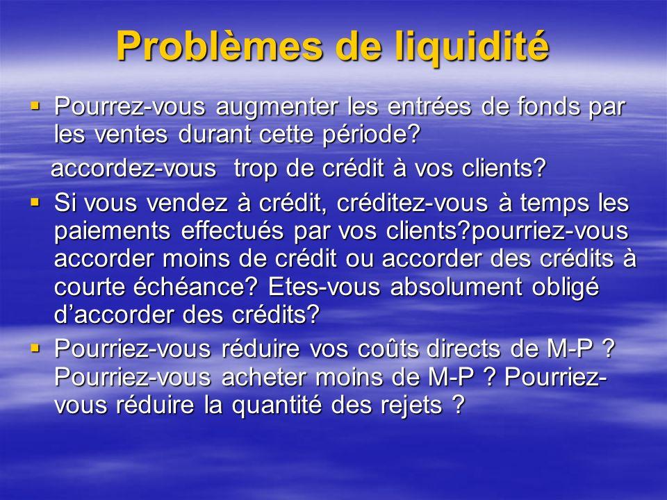 Problèmes de liquidité Pourrez-vous augmenter les entrées de fonds par les ventes durant cette période.
