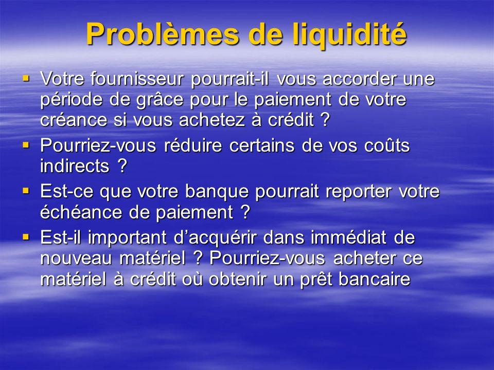 Problèmes de liquidité Votre fournisseur pourrait-il vous accorder une période de grâce pour le paiement de votre créance si vous achetez à crédit .