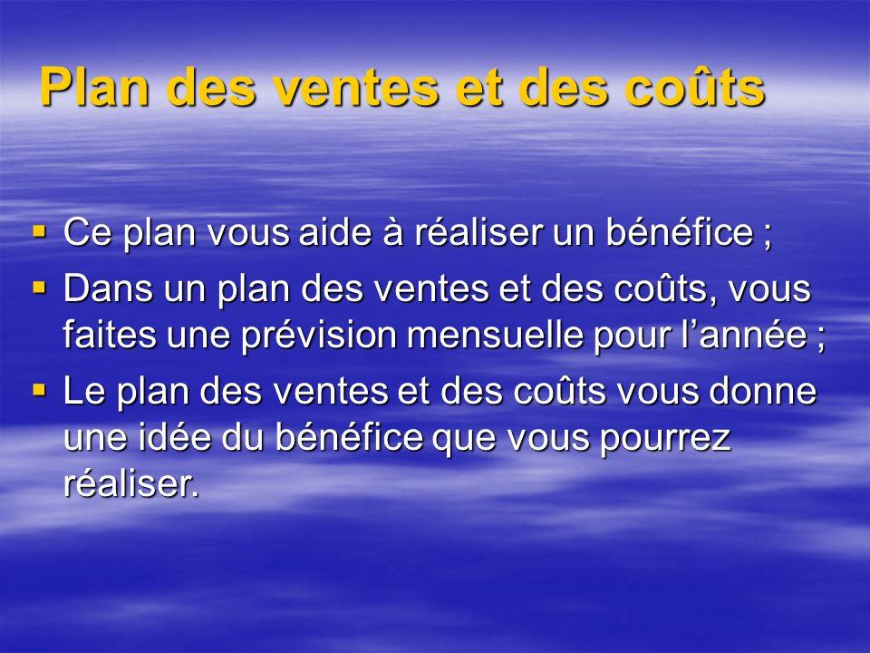 Plan des ventes et des coûts Ce plan vous aide à réaliser un bénéfice ; Ce plan vous aide à réaliser un bénéfice ; Dans un plan des ventes et des coûts, vous faites une prévision mensuelle pour lannée ; Dans un plan des ventes et des coûts, vous faites une prévision mensuelle pour lannée ; Le plan des ventes et des coûts vous donne une idée du bénéfice que vous pourrez réaliser.