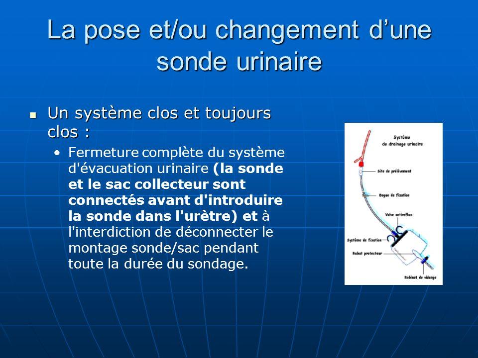 La pose et/ou changement dune sonde urinaire Un système clos et toujours clos : Un système clos et toujours clos : Fermeture complète du système d'éva