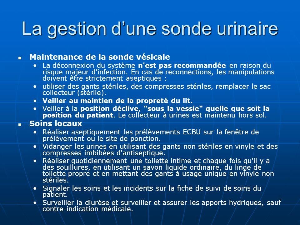 La gestion dune sonde urinaire Maintenance de la sonde vésicale La déconnexion du système n'est pas recommandée en raison du risque majeur d'infection