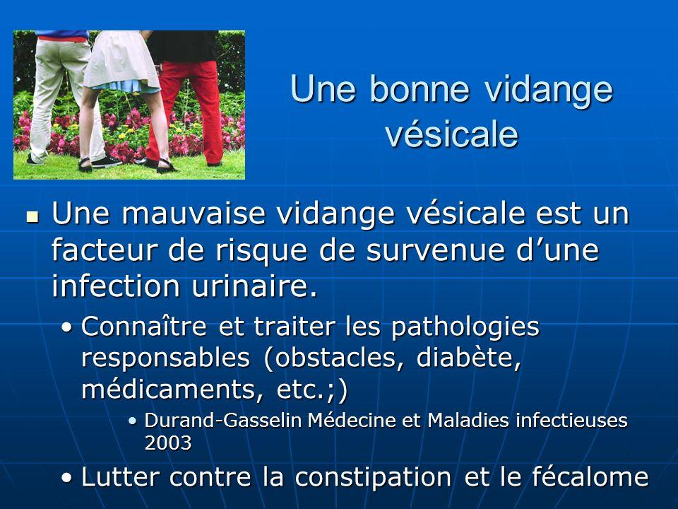 Une bonne vidange vésicale Une mauvaise vidange vésicale est un facteur de risque de survenue dune infection urinaire. Une mauvaise vidange vésicale e