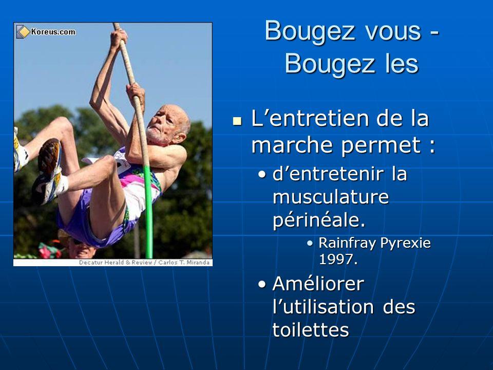 Bougez vous - Bougez les Lentretien de la marche permet : Lentretien de la marche permet : dentretenir la musculature périnéale.dentretenir la muscula