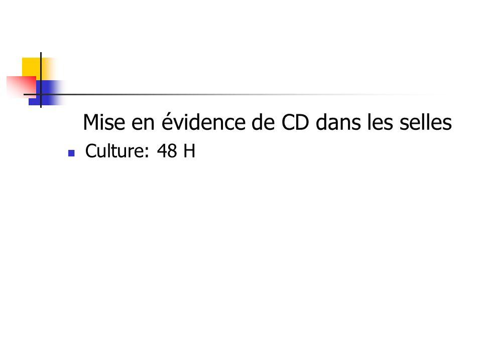 Mise en évidence de CD dans les selles Culture: 48 H
