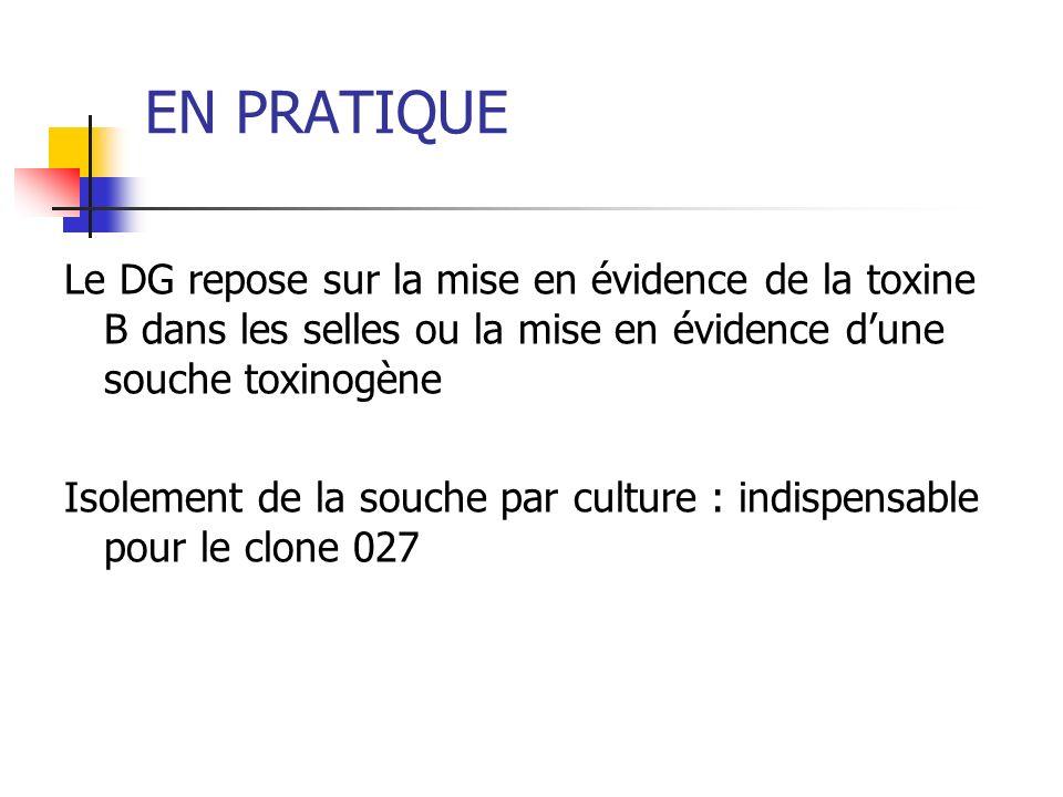 EN PRATIQUE Le DG repose sur la mise en évidence de la toxine B dans les selles ou la mise en évidence dune souche toxinogène Isolement de la souche p