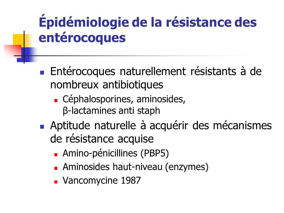 Épidémiologie de la résistance des entérocoques Entérocoques naturellement résistants à de nombreux antibiotiques Céphalosporines, aminosides, β-lacta