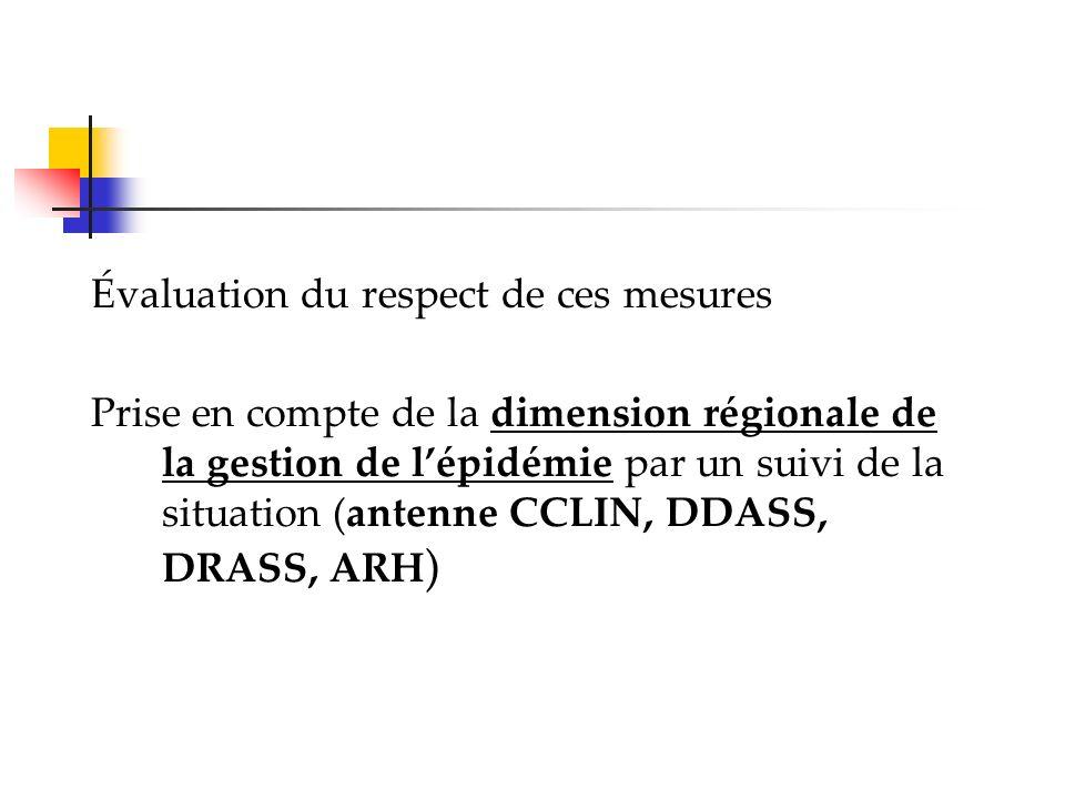 Évaluation du respect de ces mesures Prise en compte de la dimension régionale de la gestion de lépidémie par un suivi de la situation (antenne CCLIN,