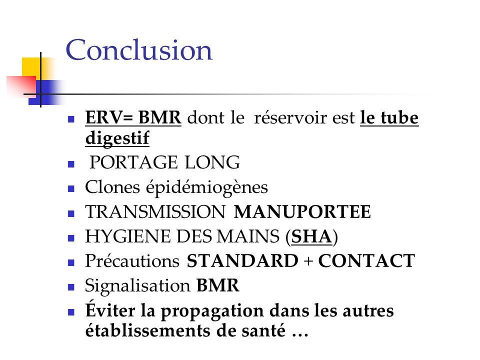 Conclusion ERV= BMR dont le réservoir est le tube digestif PORTAGE LONG Clones épidémiogènes TRANSMISSION MANUPORTEE HYGIENE DES MAINS (SHA) Précautio