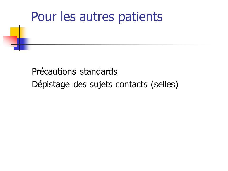 Pour les autres patients Précautions standards Dépistage des sujets contacts (selles)